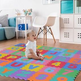HomCom Tapete de quebra-cabeça infantil de borracha 36 peças de 31x31cm Números de 0 a 9 e 26 Letras do alfabeto 3,24㎡