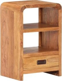 Mesa cabeceira 40x30x60cm acácia maciça c/ acabamento sheesham