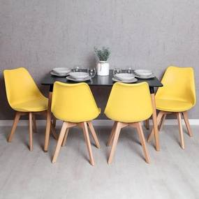 Conjunto Mesa Tower Retangular 120 x 80 cm Preto e Pack 4 Cadeiras Synk Basic