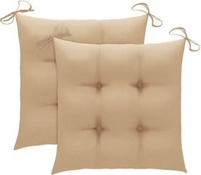 Almofadões de cadeira 2 pcs 40x40x7 cm tecido bege