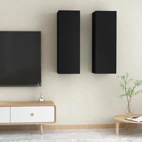 803347 vidaXL Móveis de TV 2 pcs 30,5x30x90 cm contraplacado preto