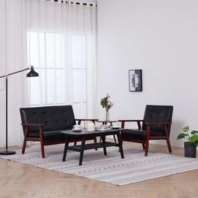 278395 vidaXL Conjunto de sofás 2 pcs couro artificial preto