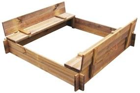 41722 vidaXL Caixa de areia em madeira impregnada quadrada