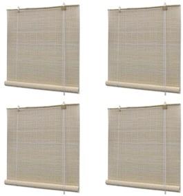 278743 vidaXL Estores de rolo em bambu natural 4 pcs 120x160 cm