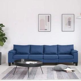 287094 vidaXL Sofá de 4 lugares em tecido azul