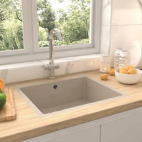 147071 vidaXL Lava-louça cozinha c/ orifício extravasamento granito bege