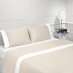 Jogo de lençóis 100% algodão - COIMBRA BEGE da Casa&Algodão: cama 105cm - 1 lençol superior 180 x 290 cm + 1 lençol capa ajustável 105 x 200 + 30 cm + 1 fronha almofada 50x70 cm