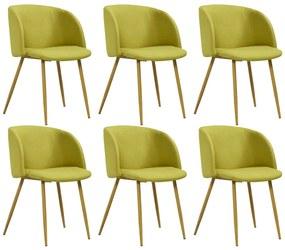 278705 vidaXL Cadeiras de jantar 6 pcs tecido verde