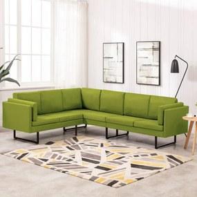 288164 vidaXL Sofá de canto tecido verde