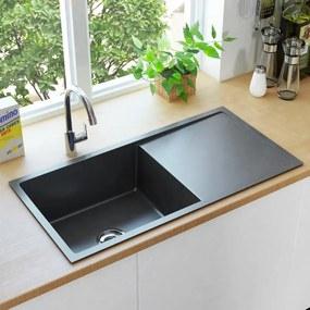 145086 vidaXL Lava-louça de cozinha artesanal com ralo aço inoxidável preto