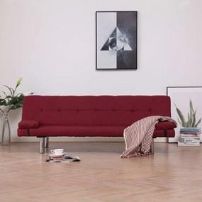 Sofá-cama com duas almofadas poliéster vermelho tinto