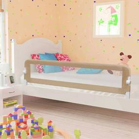 10175 vidaXL Barra segur. cama infantil 180x42cm poliéster cinza-acastanhado