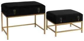 Repousa pés DKD Home Decor Veludo Metal Madeira MDF Glam (48 x 30 x 34 cm) (60 x 40 x 46 cm)