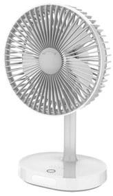 Ventoinha de mesa 3000mA/3,7V USB, 3 níveis de velocidade, cinzento/branco