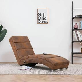 281299 vidaXL Chaise longue de massagens camurça artificial castanho