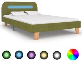 280907 vidaXL Estrutura de cama com LED em tecido 120x200 cm verde