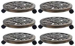 48229 vidaXL Suportes com rodas para plantas 6 pcs 38 cm plástico bronze