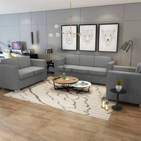274213 vidaXL Conjunto de sofás, 3 pcs, tecido cinzento claro