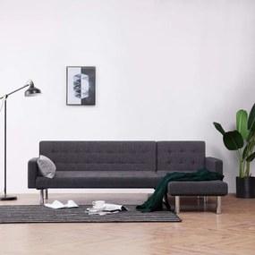 282230 vidaXL Sofá-cama com formato em L poliéster cinzento-escuro