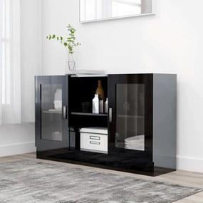 802793 vidaXL Armário vitrine 120x30,5x70 cm contraplacado preto brilhante