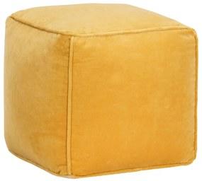 284030 vidaXL Pufe em veludo de algodão 40x40x40 cm amarelo