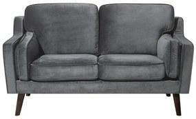 Sofá de 2 lugares em veludo cinzento escuro LOKKA