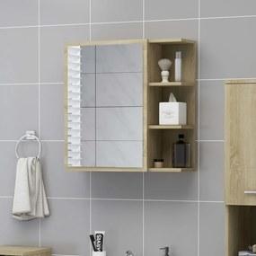 803311 vidaXL Armário casa banho c/ espelho 62,5x20,5x64cm contrapl. carvalho