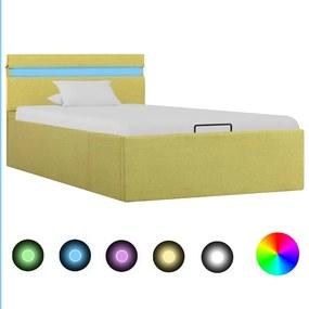 285619 vidaXL Cama hidráulica + arrumação e LED 100x200cm tecido amarelo-lima