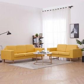 276864 vidaXL 2 pcs conjunto de sofás tecido amarelo