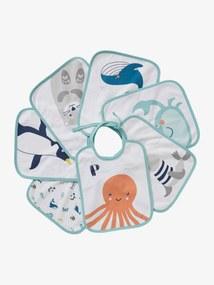 Lote de 7 babetes de bebé, animais marinhos, da VERTBAUDET branco claro liso com motivo