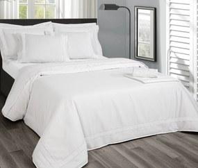 Jogo de lençóis 100% algodão branco penteado percal 200 fios: Branco / Branco 1 lençol de baixo ajustavel 140x200+30 cm + 1 lençol de cima 220x290 cm + 2 fronhas 50x70 cm fecha com pala interna