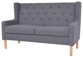Sofá de 2 lugares em tecido cinzento
