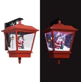289927 vidaXL Candeeiro de parede luzes LED e Pai Natal 40x27x45 cm vermelho