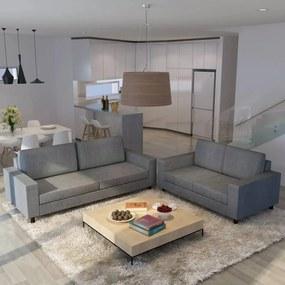 Conjunto de sofás para 5 pessoas 2 pcs tecido cinzento claro