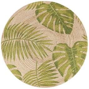 Tapete redondo de juta com folhas creme e verde ⌀ 140 cm BUGAY