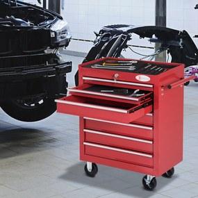 DURHAND Carro de Ferramentas com Rodas de Aço para oficina garagem 69x33x77,2cm vermelho
