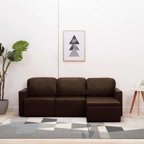 288796 vidaXL Sofá-cama modular de 3 lugares couro artificial castanho