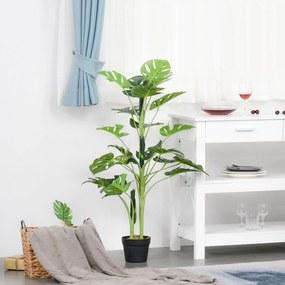 Outsunny Monstera Planta Artificial com Vaso Árvore Tropical Sintética com 21 Folhas Ø16x100 cm Verde