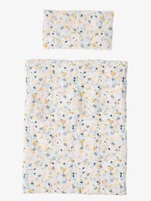 Manta + almofada para boneco, em gaze de algodão branco claro liso com motivo