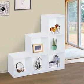HOMCOM Estante de livros em Forma de Escada Armário de Arrumação 6 Cubos Estante de Exposição 91,5x29,5x91,5cm Branco