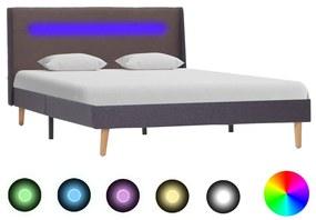 286705 vidaXL Estrutura cama c/ LED 120x200 cm tecido cinzento-acastanhado
