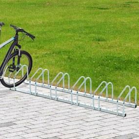 HOMCOM Estacionamento para 6 Bicicletas Suporte de Aço para Estacionar Bicicletas no Chão para Interior e Exterior 160x33x27cm Prata