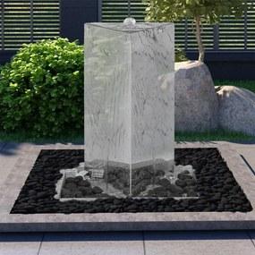 Fonte de jardim triangular com bomba 76 cm aço inoxidável