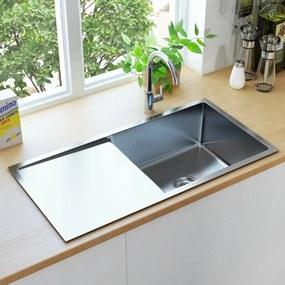 145080 vidaXL Lava-louça de cozinha artesanal com ralo aço inoxidável