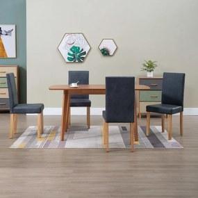 249096 vidaXL Cadeiras de jantar 4 pcs camurça artificial cinzento