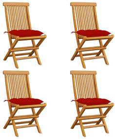 3062589 vidaXL Cadeiras de jardim c/ almofadões vermelhos 4 pcs teca maciça