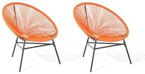 Conjunto de 2 cadeiras de jardim em rattan sintético laranja ACAPULCO