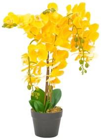 280167 vidaXL Planta orquídea artificial com vaso 60 cm amarelo