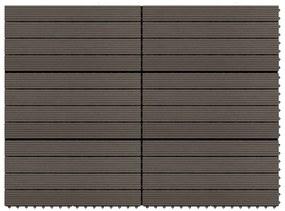 149027 vidaXL Ladrilhos de pavimento 6 pcs WPC 1,08m² 60x30cm castanho escuro