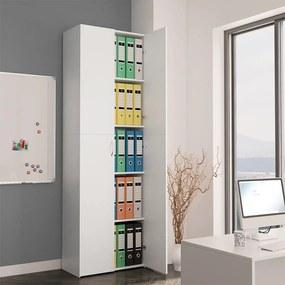 800297 vidaXL Armário de escritório 60x32x190 cm contraplacado branco